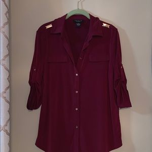 Grace the perfect fit 3/4 Button Down Blouse